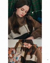 WV PROJECT Unisex Street Style Oversized Shearling Jackets