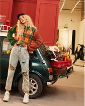 ELF SACK Crew Neck Cable Knit Other Plaid Patterns Casual Style