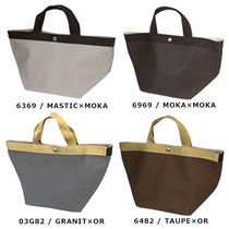 HERVE CHAPELIER Casual Style Nylon Blended Fabrics Bi-color Plain Handbags