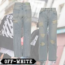 Off-White Plain Cotton Long Wide & Flared Jeans