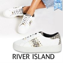 River Island Monogram Round Toe Rubber Sole Lace-up Casual Style Faux Fur