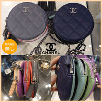 CHANEL MATELASSE Casual Style Lambskin Plain Leather Party Style