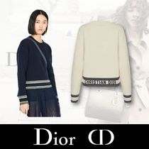 Christian Dior Crew Neck Stripes Casual Style Unisex Cashmere Street Style