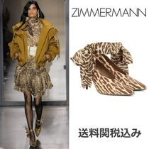 Zimmermann Leopard Patterns Round Toe Blended Fabrics Leather Pin Heels
