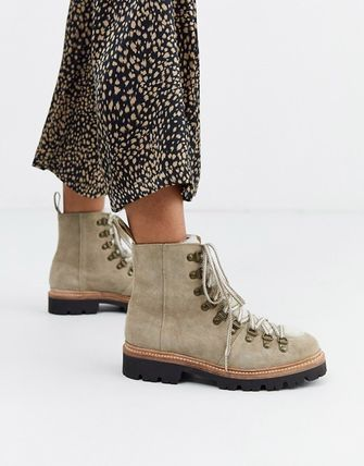 Round Toe Lace-up Casual Style Street Style Leather