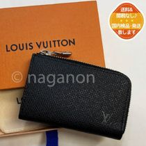 Louis Vuitton TAIGA Unisex Plain Leather Long Wallet  Logo Coin Cases