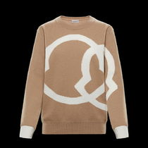 MONCLER Crew Neck Wool Cashmere Long Sleeves Plain Logo Cashmere