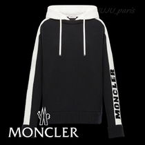 MONCLER Wool Cashmere Long Sleeves Plain Logos on the Sleeves