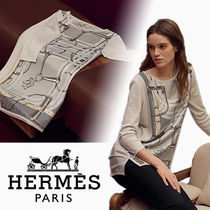 HERMES Crew Neck Casual Style Wool Cashmere Silk Blended Fabrics