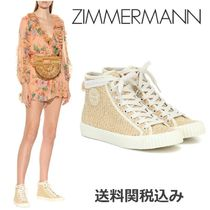 Zimmermann Round Toe Rubber Sole Lace-up Casual Style Blended Fabrics