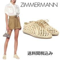 Zimmermann Round Toe Rubber Sole Blended Fabrics Elegant Style Shoes