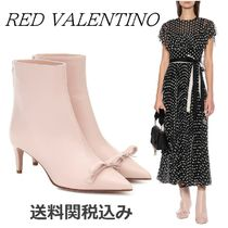 RED VALENTINO Plain Leather Elegant Style Ankle & Booties Boots