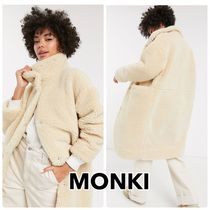 MONKI Casual Style Faux Fur Plain Oversized Parkas