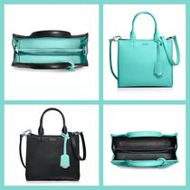Tiffany & Co Casual Style Calfskin Plain Leather Elegant Style Totes