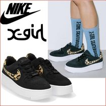 X-girl Leopard Patterns Plain Toe Casual Style Street Style