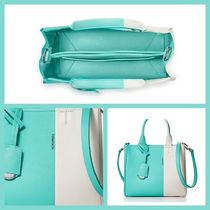 Tiffany & Co Casual Style Calfskin Bi-color Plain Leather Elegant Style