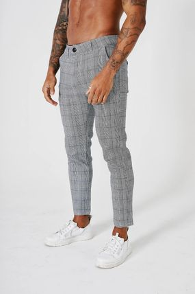 BEAUXNARROW Other Plaid Patterns Street Style Cotton Cropped Pants