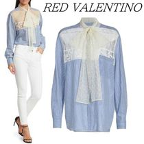 RED VALENTINO Long Sleeves Cotton Lace Elegant Style Shirts & Blouses