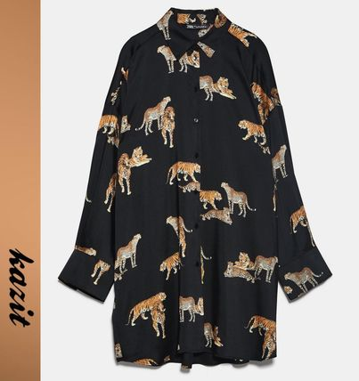 Leopard Patterns Casual Style Long Sleeves