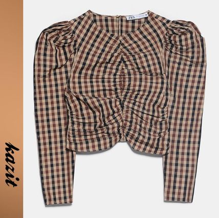 Other Plaid Patterns Casual Style Long Sleeves Puff Sleeves