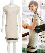 CHANEL TIMELESS CLASSICS CHANEL Cream Cashmere 100% Knit Dress F36 (works for F38)