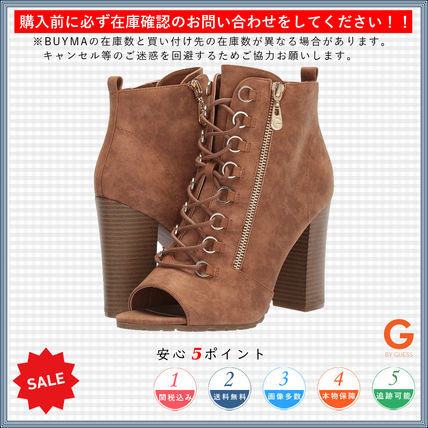 Open Toe Lace-up Casual Style Plain Chunky Heels