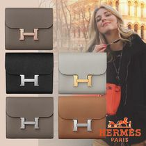 HERMES Plain Leather Handmade Logo Folding Wallets