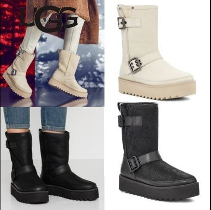 Round Toe Casual Style Plain Flat Boots
