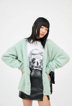OPEN THE DOOR Unisex Street Style Plain Oversized Cardigans