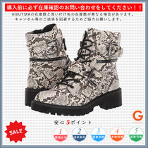 G BY GUESS Lace-up Casual Style Block Heels Python Lace-up Boots