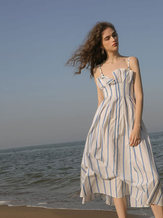 Stripes Casual Style Sleeveless Long Elegant Style Dresses