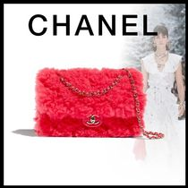 CHANEL 2WAY Chain Plain Party Style Elegant Style Shearling