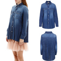 RED VALENTINO Casual Style Denim Long Sleeves Plain Long Shirts & Blouses