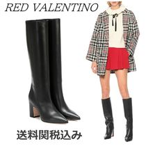 RED VALENTINO Plain Leather Block Heels Elegant Style Over-the-Knee Boots