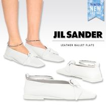 Jil Sander Square Toe Casual Style Plain Leather Elegant Style Flats
