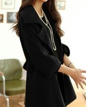 Stand Collar Coats Short Casual Style Wool Plain