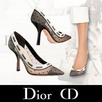 Christian Dior JADIOR Star Dots Casual Style Bi-color Plain Pin Heels Party Style