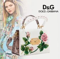 Dolce & Gabbana Flower Patterns Lambskin Chain Party Style PVC Clothing