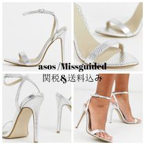 Missguided Open Toe Casual Style Faux Fur Street Style Plain Pin Heels