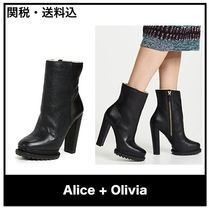 Alice+Olivia Plain Leather Chunky Heels Ankle & Booties Boots