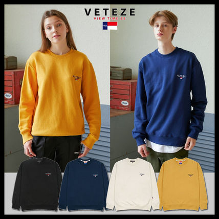 Unisex Street Style Long Sleeves Plain Oversized Sweatshirts