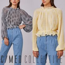 Cameo the Label Other Check Patterns Casual Style Medium Puff Sleeves