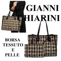 GIANNI CHIARINI Glen Patterns Casual Style A4 Office Style Totes
