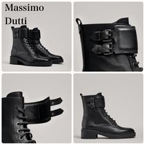 Massimo Dutti Round Toe Lace-up Casual Style Lace-up Boots