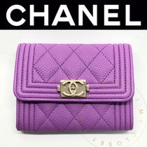 CHANEL BOY CHANEL Calfskin Street Style Plain Leather Handmade Small Wallet