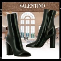VALENTINO Leather Block Heels Elegant Style Ankle & Booties Boots