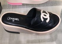 CHANEL Open Toe Platform Casual Style Bi-color Leather