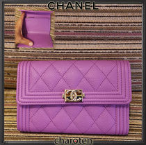 CHANEL BOY CHANEL Unisex Calfskin Plain Leather Folding Wallets