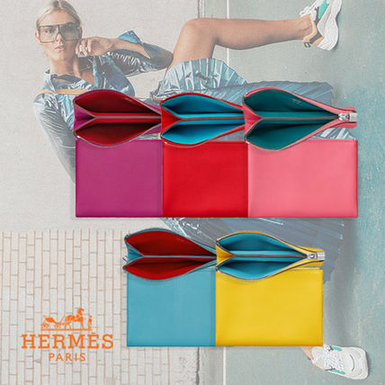 HERMES Coin Cases Unisex Plain Leather Coin Cases