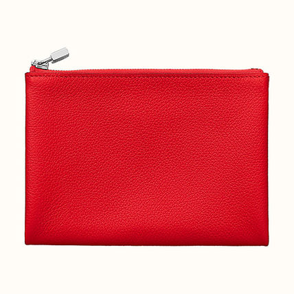 HERMES Coin Cases Unisex Plain Leather Coin Cases 2